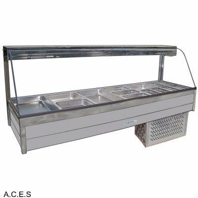 ROBAND CURVED GLASS COLD FOOD BARS - REFRIGERATED COLD PLATE ONLY - DOUBLE ROW - 12 Pans