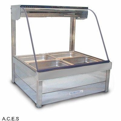 ROBAND CURVED GLASS HOT FOOD DISPLAY BARS - DOUBLE ROW - 4 Pans