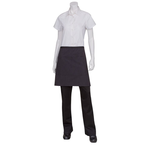 Black Fine Striped Wide 1/2 Bistro Apron with Black Ties