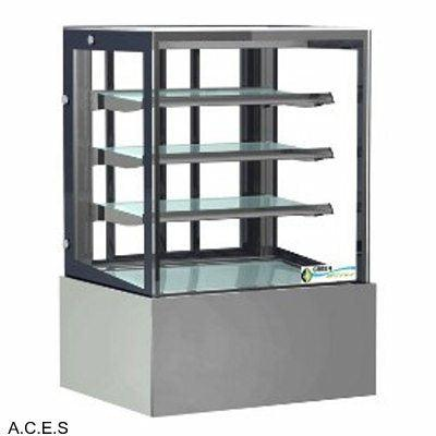 GREENLINE HEATED 4 Tier SQUARE GLASS DISPLAY 900mm wide