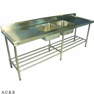 RYNO 700 SERIES SINKS - DOUBLE SINK BENCH WITH 150 MM HIGH SPLASH BACK