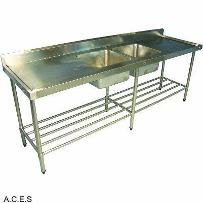 JEMI S/S Sink BENCH 2400mm wide - Double (Left Hand) sink