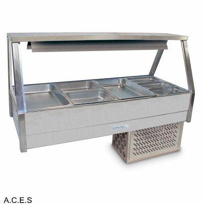 ROBAND COLD FOOD DISPLAY BARS -   REFRIGERATED COLD PLATE - DOUBLE ROW - 8 Pans