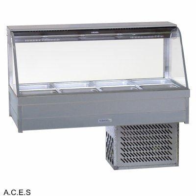 ROBAND CURVED GLASS COLD FOOD BARS - REFRIGERATED COLD PLATE ONLY - DOUBLE ROW - 8 Pans