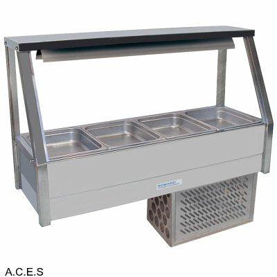 ROBAND COLD FOOD DISPLAY BARS - REFRIGERATED COLD PLATE - SINGLE ROW - 4 Pans
