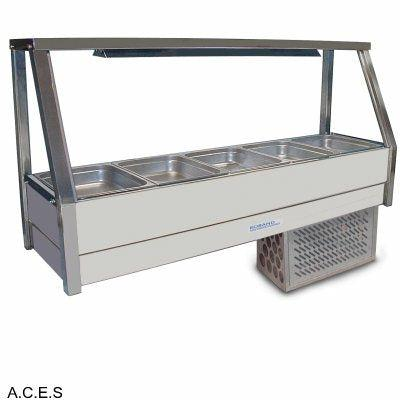 ROBAND COLD FOOD DISPLAY BARS - REFRIGERATED COLD PLATE - SINGLE ROW - 5 Pans