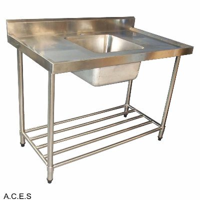 RYNO 700 SERIES SINKS - SINGLE SINK BENCH WITH 150 MM HIGH SPLASH BACK