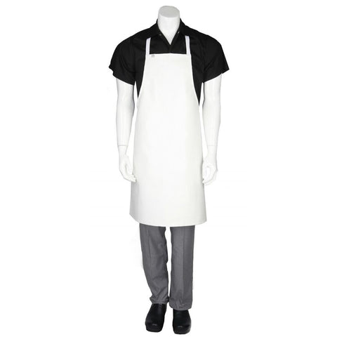 White Short PVC Bib Apron