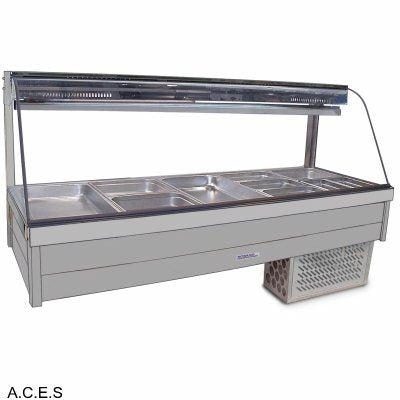 ROBAND CURVED GLASS COLD FOOD BARS - REFRIGERATED COLD PLATE & CROSS FIN COIL - DOUBLE ROW - 8 Pans