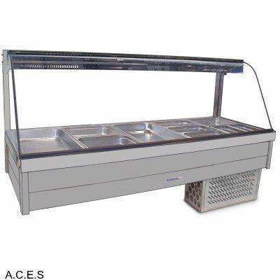 ROBAND CURVED GLASS COLD FOOD BARS - REFRIGERATED COLD PLATE ONLY - DOUBLE ROW - 10 Pans