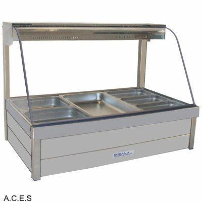ROBAND CURVED GLASS HOT FOOD DISPLAY BARS - DOUBLE ROW - 6 Pans