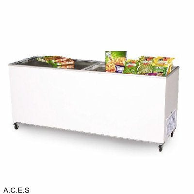 MITCHEL 300 litre glass sliding top chest freezer