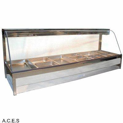 ROBAND CURVED GLASS HOT FOOD DISPLAY BARS - DOUBLE ROW - 12 Pans