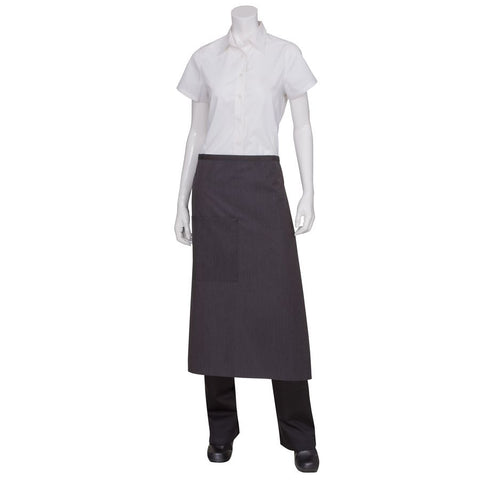 Black Fine Striped 3/4 Apron with Black Ties