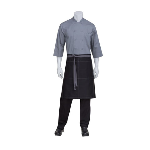 Black Wide Half Apron With Grey Contrast Ties And Stitching