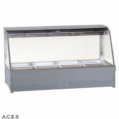 ROBAND CURVED GLASS HOT FOOD DISPLAY BARS - DOUBLE ROW - 8 Pans