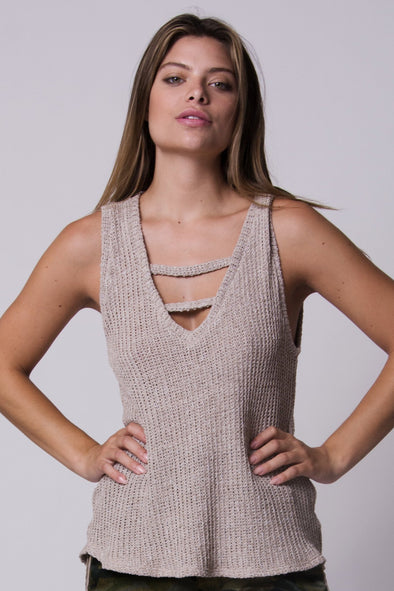 Sand Storm Woven Knit Tank
