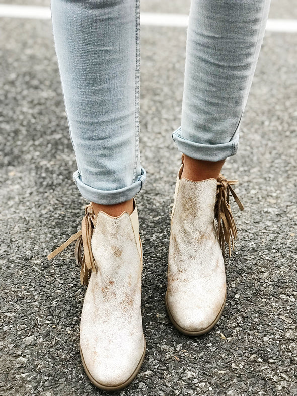 fringe metallic western leather bootie