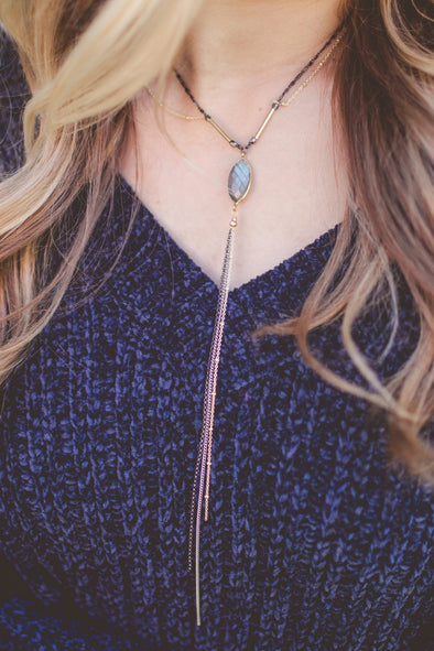 Handmade Labradorite Stone Y-Shape Necklace