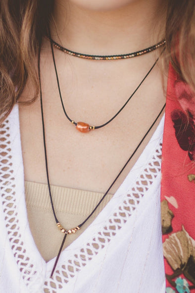 Handmade Layered Rope Necklace with Rose Gold Pearl