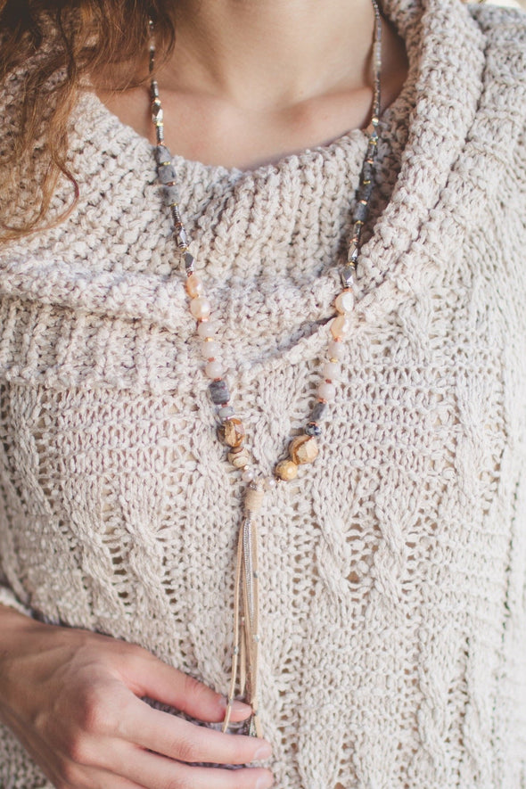 Handmade Pearl and Semiprecious Stone Tassel Necklace