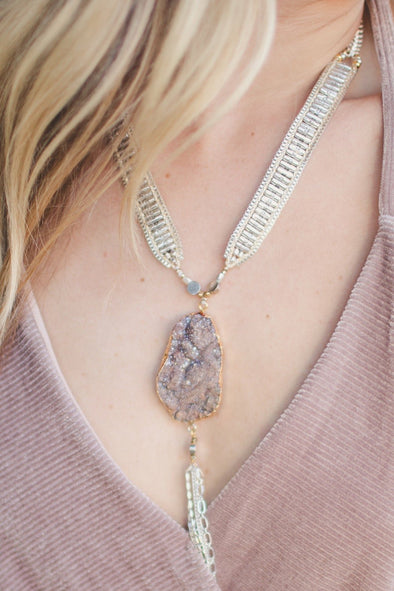 Handmade Statement Necklace with Druzy Stone