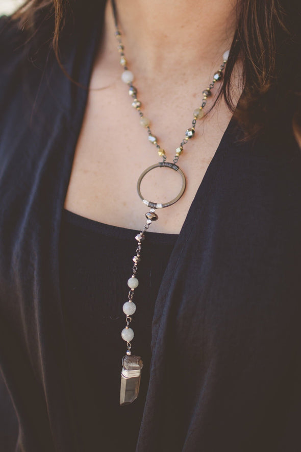 Handmade Semiprecious Stone Y-Shape Necklace