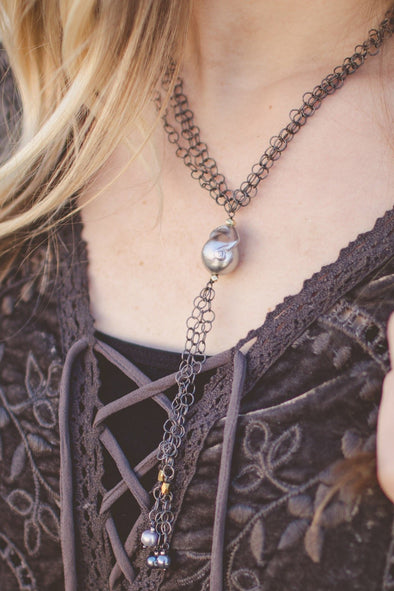 Handmade Chain Link Necklace with Baroque Pearl