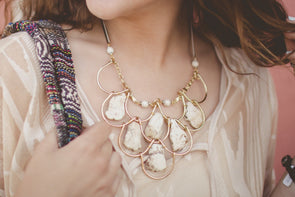 Handmade White Stone Statement Necklace
