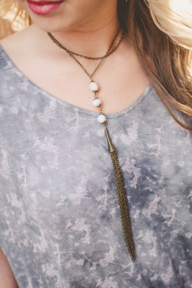 Handmade Clay Bead Tassel Necklace
