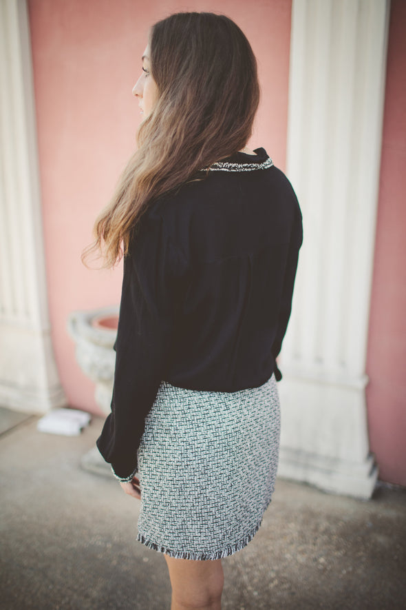 Black tweed work blouse