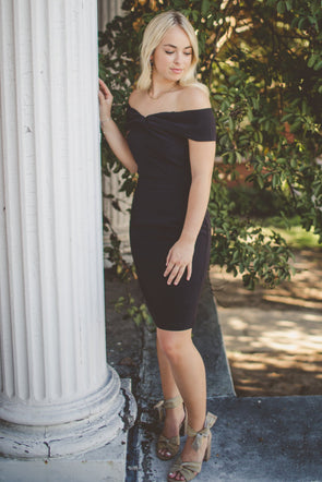 Off the shoulder black cocktail dress