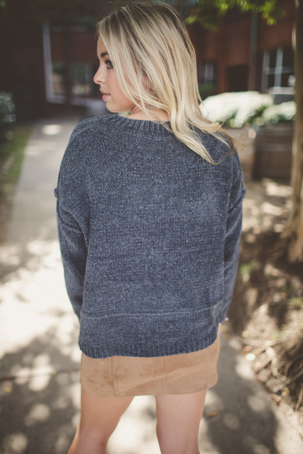 Soni Charcoal Drop Shoulder Sweater