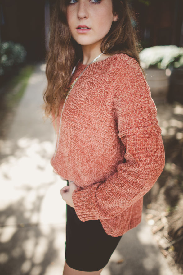 Soni Rust Drop Shoulder Sweater