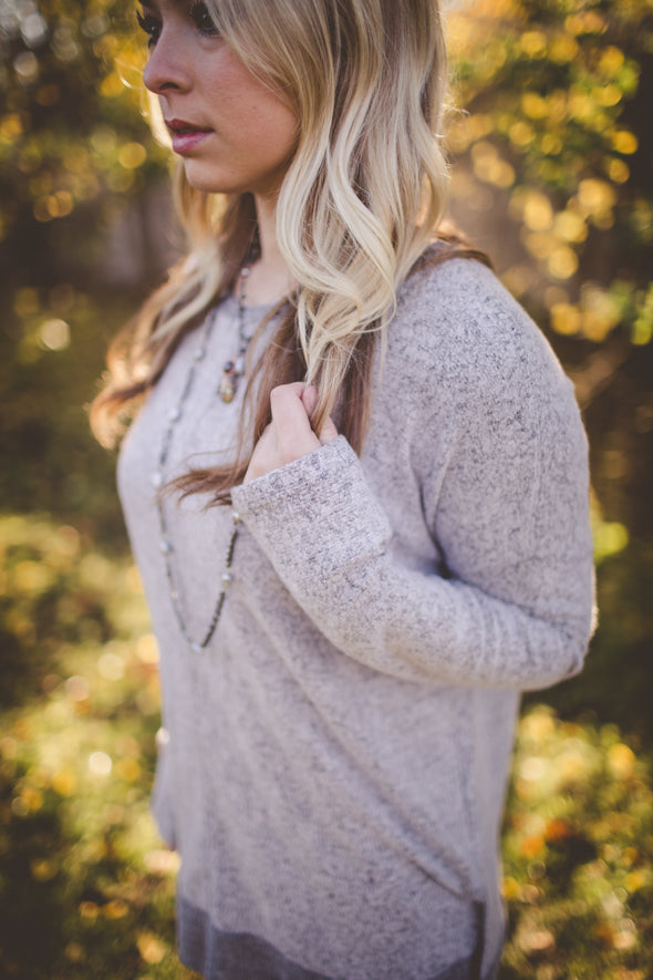 Harlow Heather Grey Cozy Oversized Top