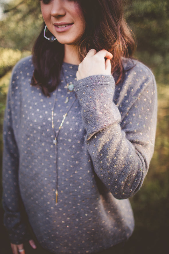 Gold and Grey Polka Dot Knit Sweater