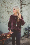 Loranne Lux Velvet Wine Long Sleeve Top