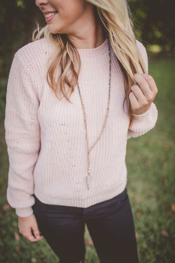 Sweetheart Blush Chenille Sweater
