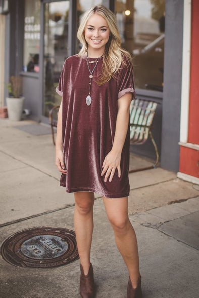 Laurent Lux Velvet Wine T-Shirt Dress