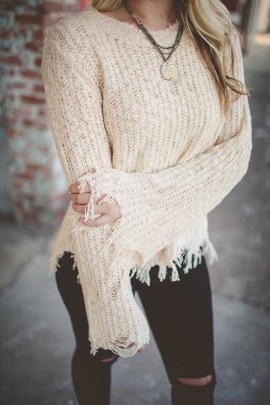 Distressed Cream Sweater