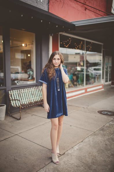 Laurent Lux Velvet Blue T-Shirt Dress