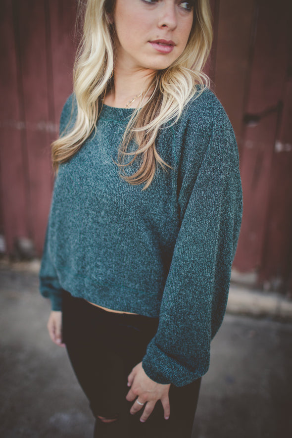 Green cropped sweater