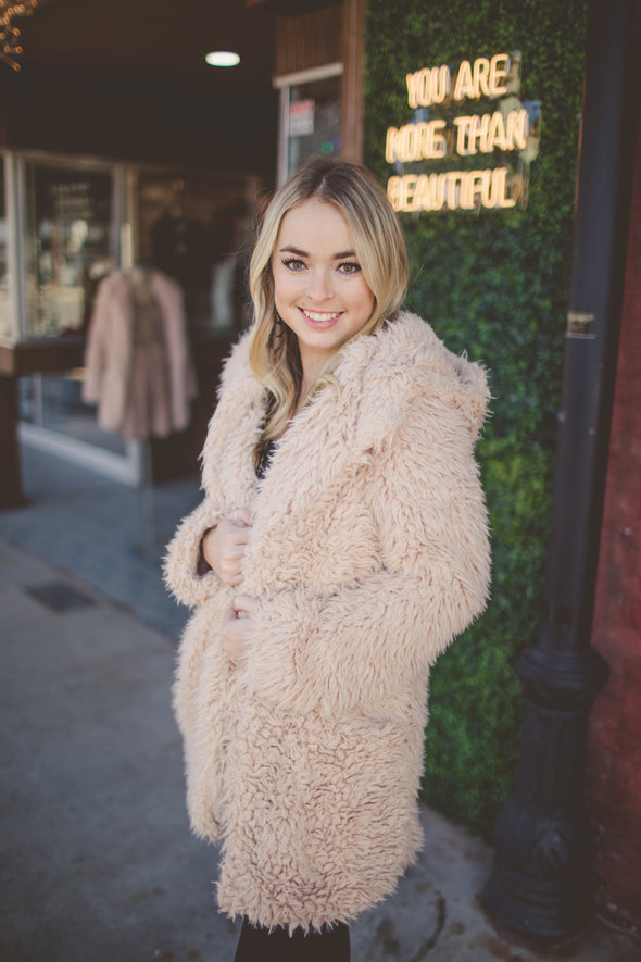 Gigi Mid Length Faux Fur Coat with Hood