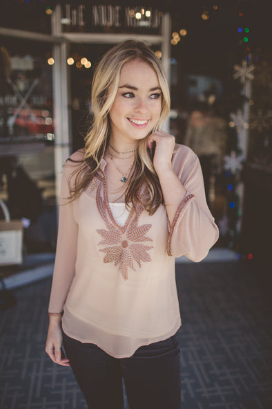 Beaded light taupe blouse