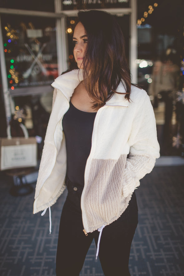 Cream and white fur jacket