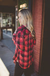 Beau Red Plaid Button Up Top
