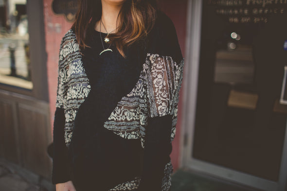 Black and Cream Lace Sweater