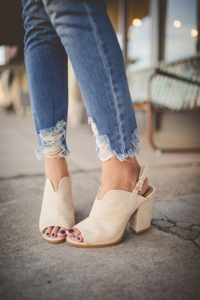 Open toe suede heeled bootie