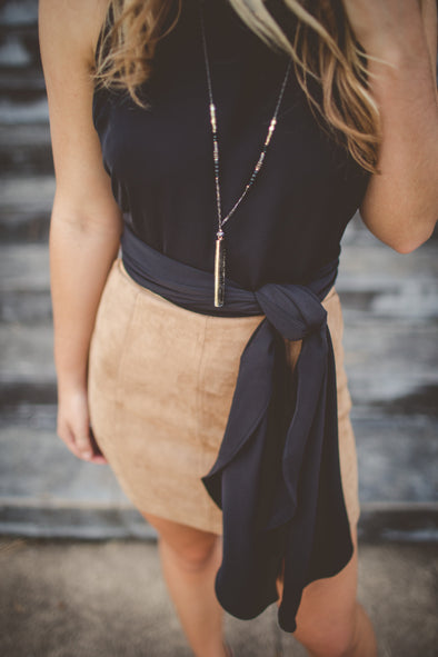 High waisted tan suede mini skirt