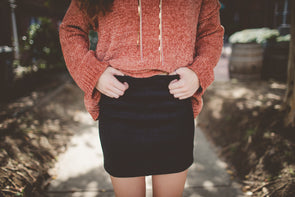 High waisted black suede mini skirt